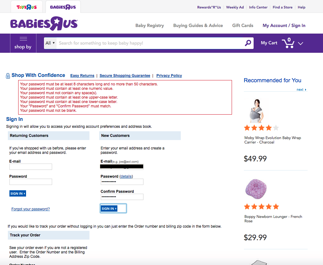 Screenshot of babiesrus.com account login page