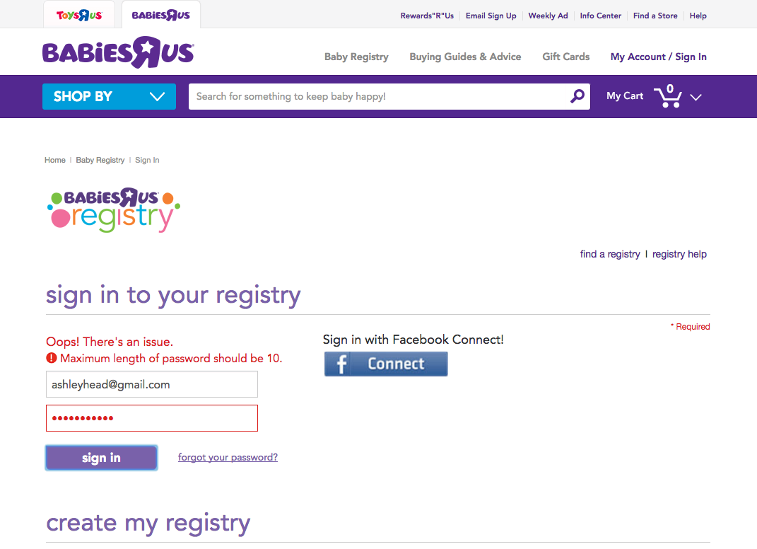 Screenshot of babiesrus.com registry login page