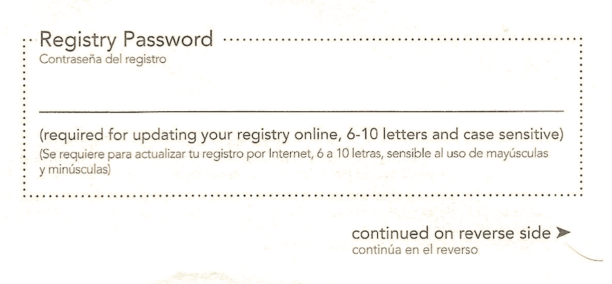 Scanned copy of registry paper form password section