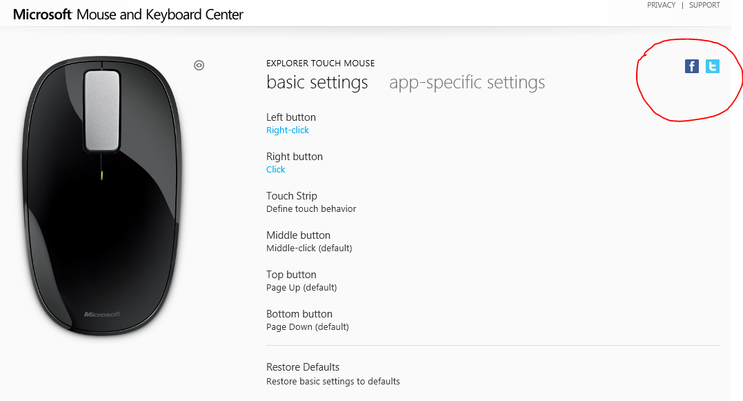 Screenshot of Microsoft Mouse settings screen with social share buttons