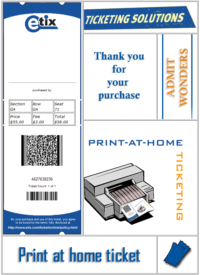 Screenshot of Etix print-at-home ticket with preview data