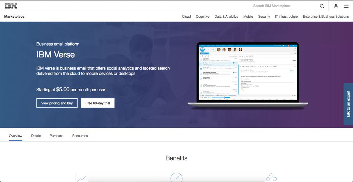Screenshot of IBM Digital Marketplace product detail page