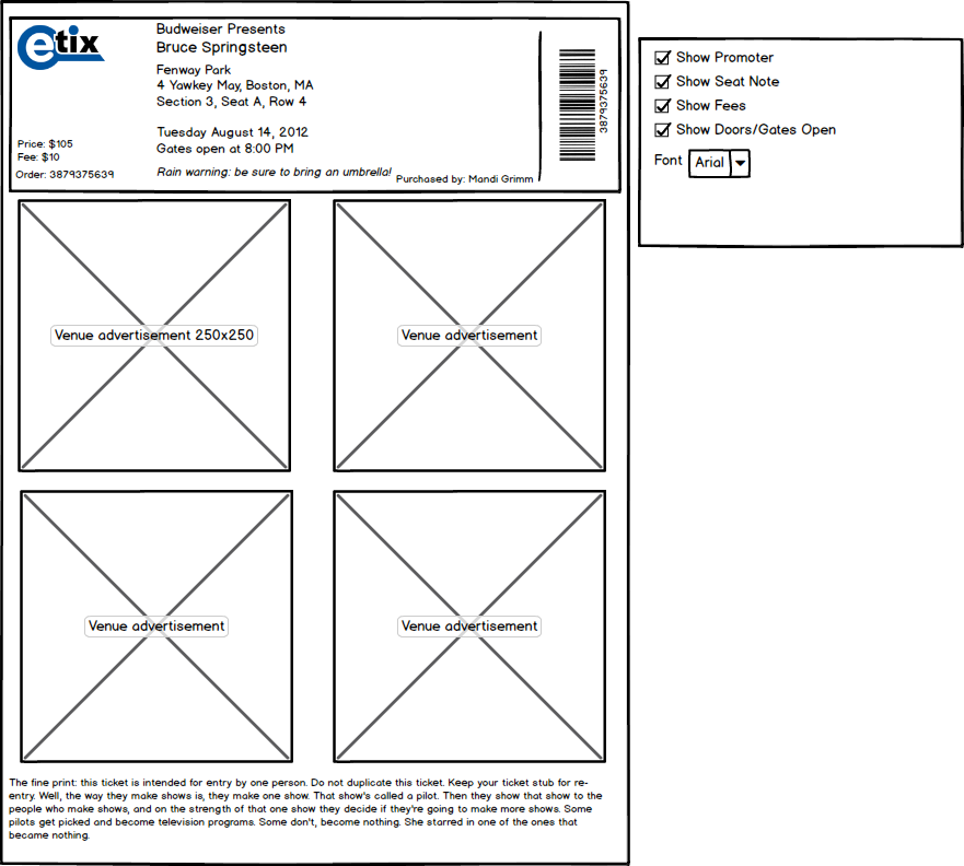 Screenshot of Balsamiq wireframe for a print-at-home ticket